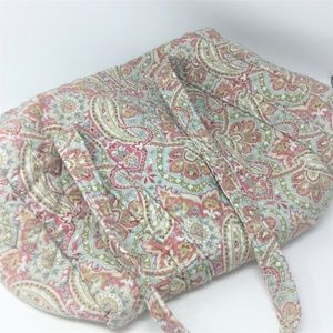Large Quilted Paisley Duffel Luggage Bag